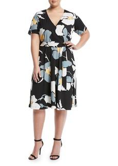 Catherine Malandrino Short-Sleeve Floral Wrap Dress