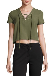 Short-Sleeve Lace-Up Crop Blouse
