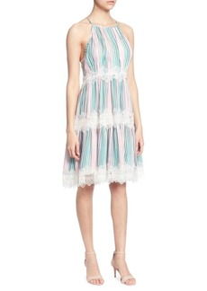 Catherine Malandrino Sidonie Lace-Trimmed Knee-Length Dress