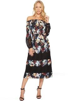 Smocked Neck Lace Peasant Sleeve Dress