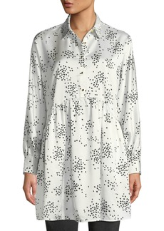 Catherine Malandrino Speckled Button-Front Peplum Tunic