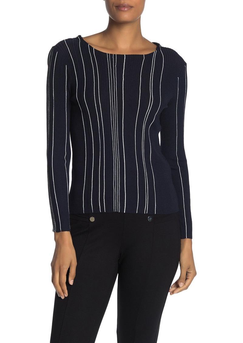 Catherine Malandrino Textured Stripe Knit Boatneck Top