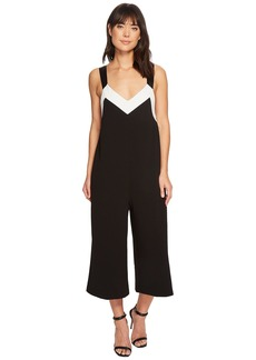 Catherine Malandrino Tre V-Neck Color Block Straight Leg Jumpsuit