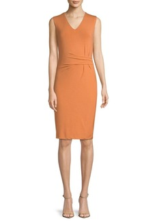 V-Neck Jersey Knee-Length Dress