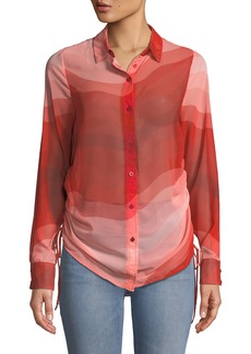 Wavy-Print Side-Ruched Button-Front Blouse