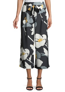 Wide-Leg Floral-Print Pants with Detachable Belt