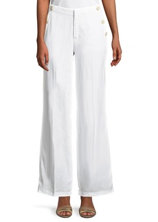 Catherine Malandrino Wide-Leg Sailor-Button Pocket Pants