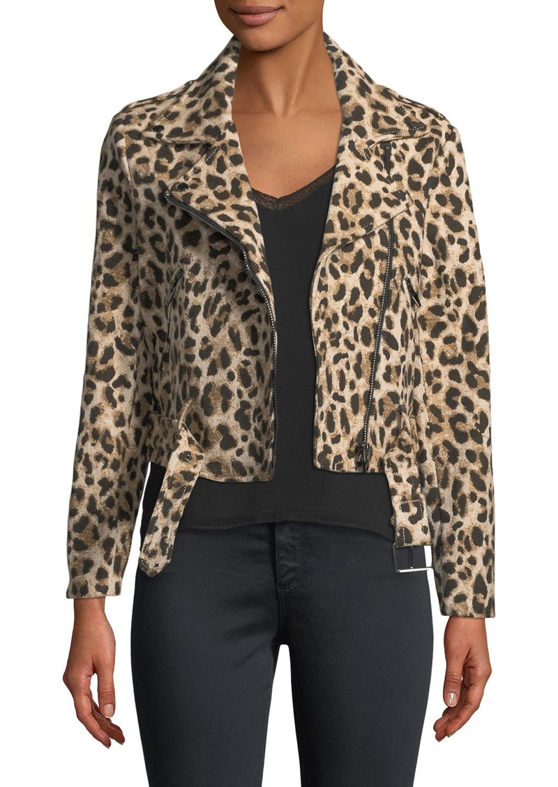 Catherine Malandrino Woven Animal-Print Moto Jacket