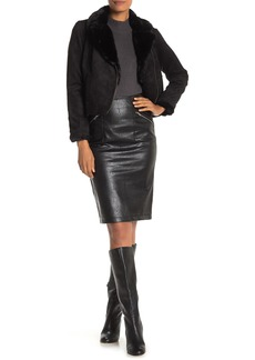 Catherine Malandrino Zip Pocket Faux Leather Pencil Skirt