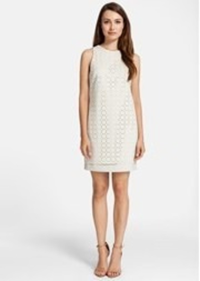 Cynthia Steffe Laser Cut Scuba & Faux Leather Shift Dress