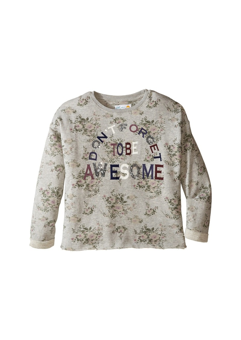 C&C California Printed Fleece Cropped Pullover (Little Kids/Big Kids)