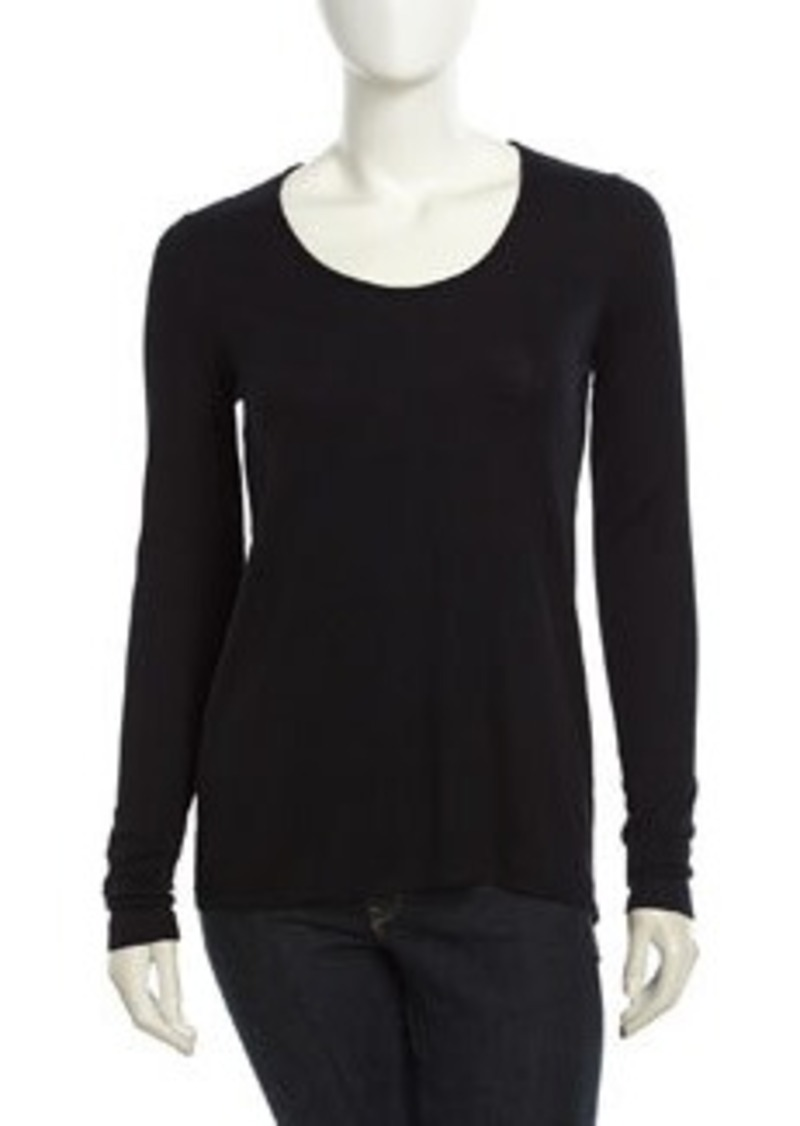 Isda & Co Long-Sleeve Stretch Drape Tee, Black