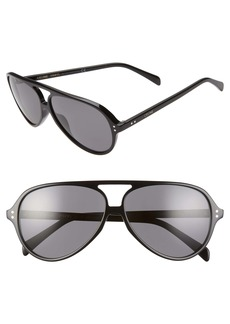 CELINE 61mm Polarized Aviator Sunglasses