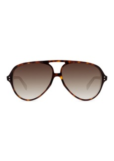 Celine Acetate International-Fit Aviator Sunglasses  Brown Tortoiseshell