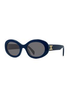 Celine Triomphe Logo Oval Acetate Sunglasses