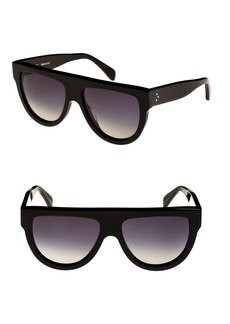 Celine Céline Special Fit 60mm Polarized Gradient Flat Top Sunglasses