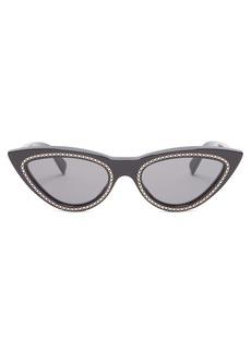 Celine Céline Eyewear Crystal-embellished cat-eye sunglasses