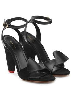 Celine Leather and Velvet Sandals