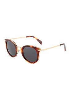 Celine Oversized Round Metal/Acetate Havana Sunglasses