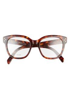 Women's Celine 51mm Round Reading Glasses - Dark Havana