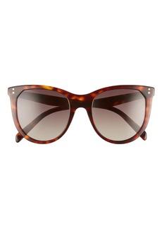Women's Celine 53mm Gradient Cat Eye Sunglasses - Dark Havana/ Brown