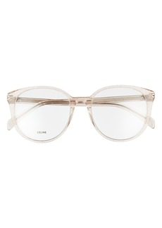 Women's Celine 54mm Round Reading Glasses - Transparent Rose/ Brown