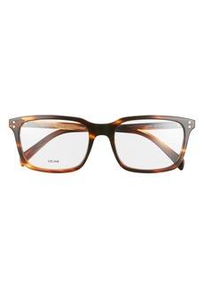 Women's Celine 56mm Rectangle Optical Glasses - Flamed Havana