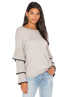 Central Park West Bourbon Street Ruffle Sleeve Sweater in Gray. - size M (also in L,S)