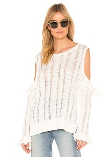 Central Park West Desert Sunflower Cable Knit Cold Shoulder Sweater