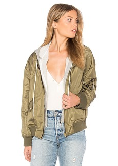 Central Park West Los Feliz Bomber with Hoodie in Army. - size L (also in S,XS,M)