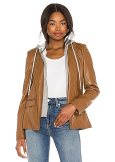 Central Park West Maia Faux Leather Dickey Blazer