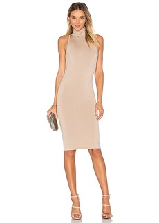 Central Park West Sleeveless Midi Dress in Beige. - size L (also in S,XS)