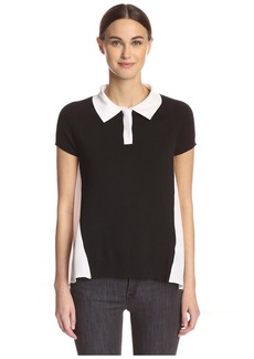 Central Park West Women's Polo with Sheer Back  XS