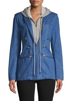 Central Park West Notch Lapel Cotton-Blend Double-Breasted Jacket