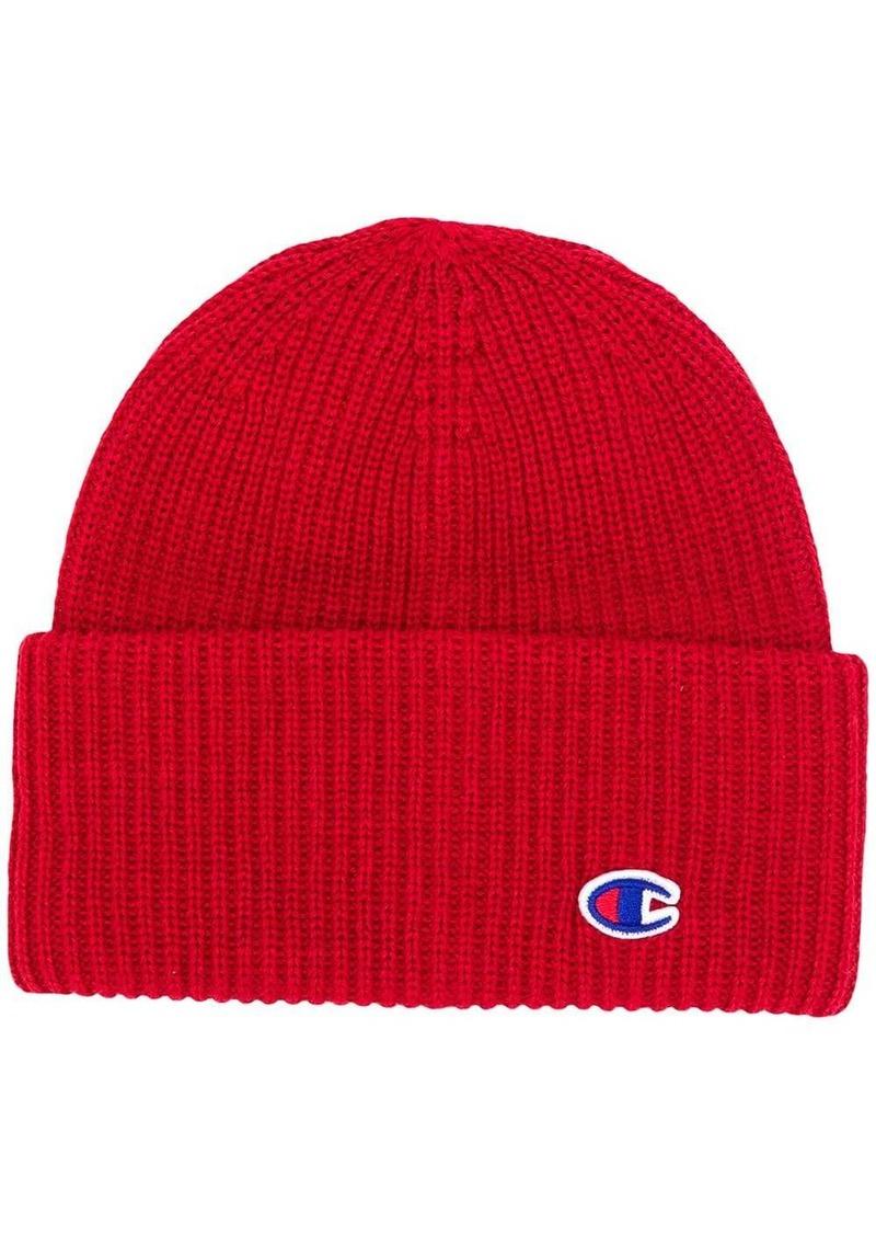 Champion logo embroidered beanie hat