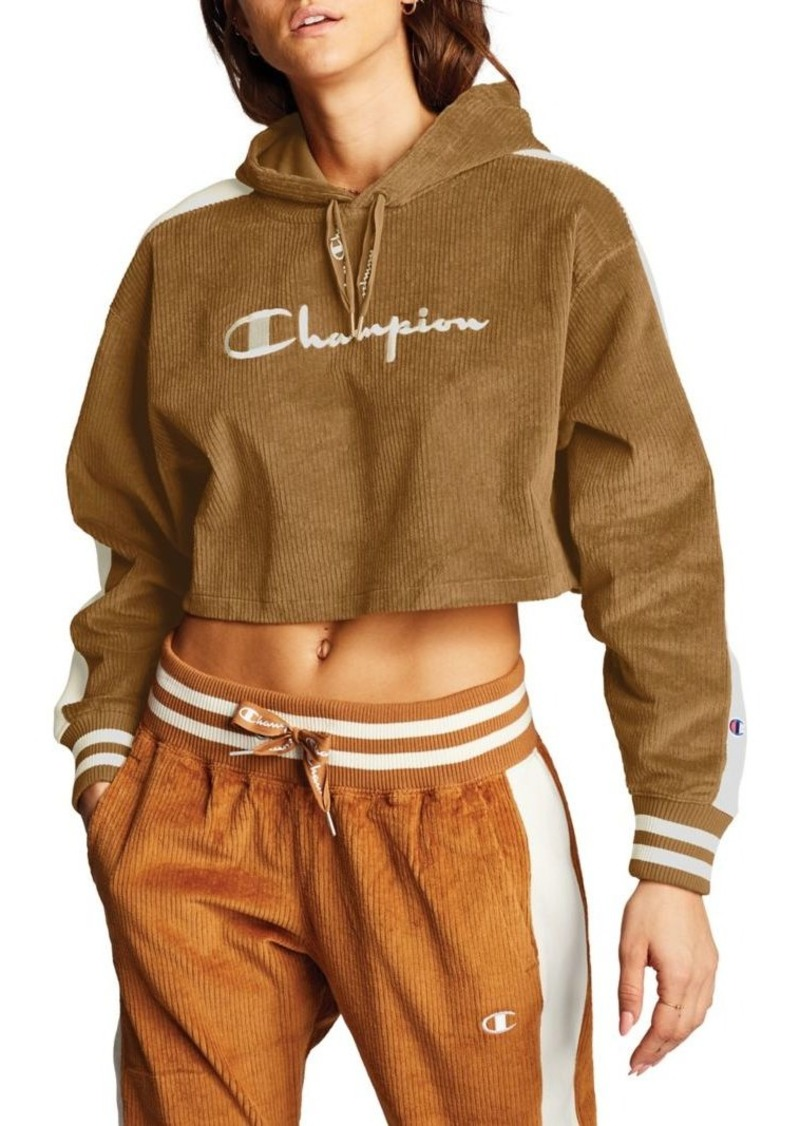 Champion Cropped Corduroy Pullover Hoodie