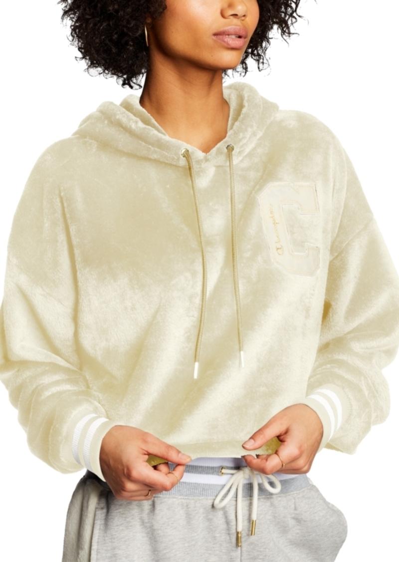 Champion Faux-Fur Cropped Hoodie