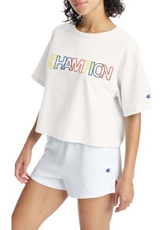 Champion Heritage Logo Embroidered Crop T-Shirt