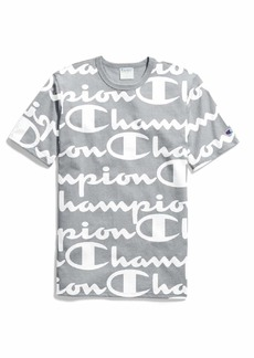 Champion LIFE Men's All-Over Script Logo Tee Giant CHP  Script Oxford Grey
