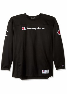 Champion Men's Long-Sleeve Football Jersey T-Shirt Black w/Chest Script