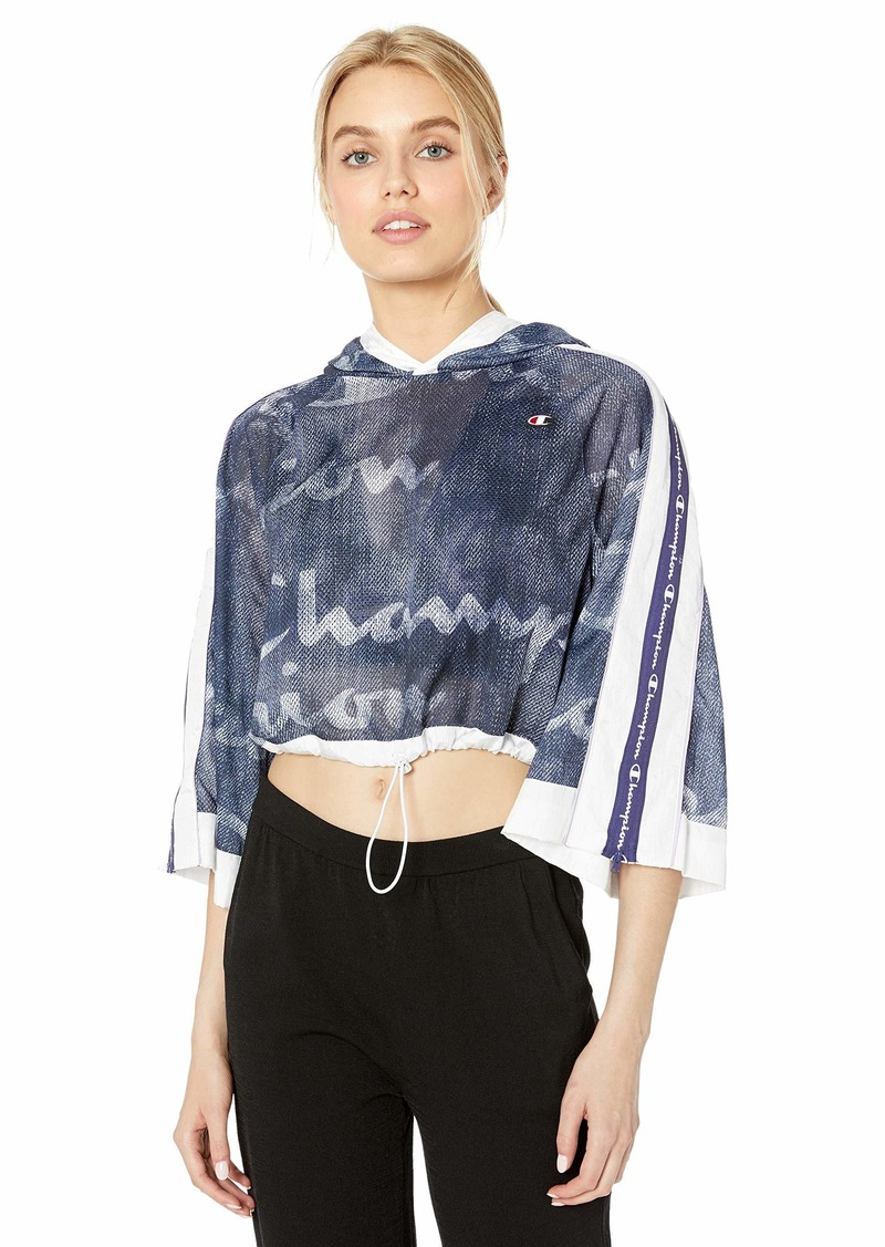 Champion LIFE Women's Hooded Cropped Mesh Top Logo Denim Overlay Imperia IND XS