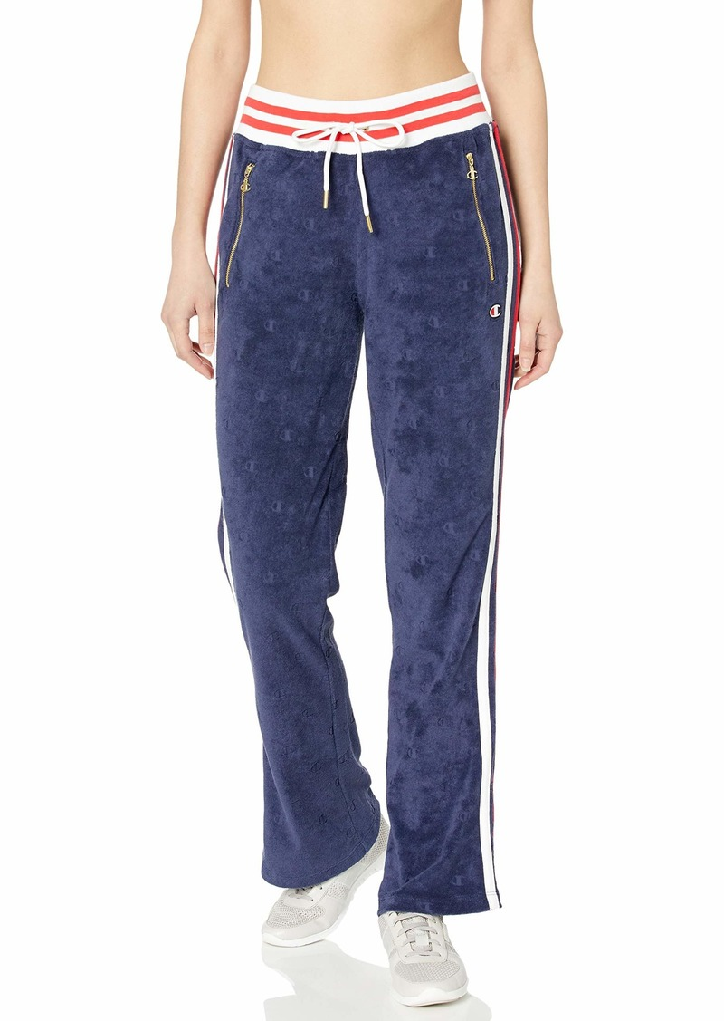 Champion LIFE Women's Terry Cloth Warm-Up Slim Flare Pant Imperial Indigo C LGO Jacquard XS