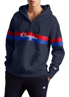 Champion Logo Stripe Half Zip Hoodie