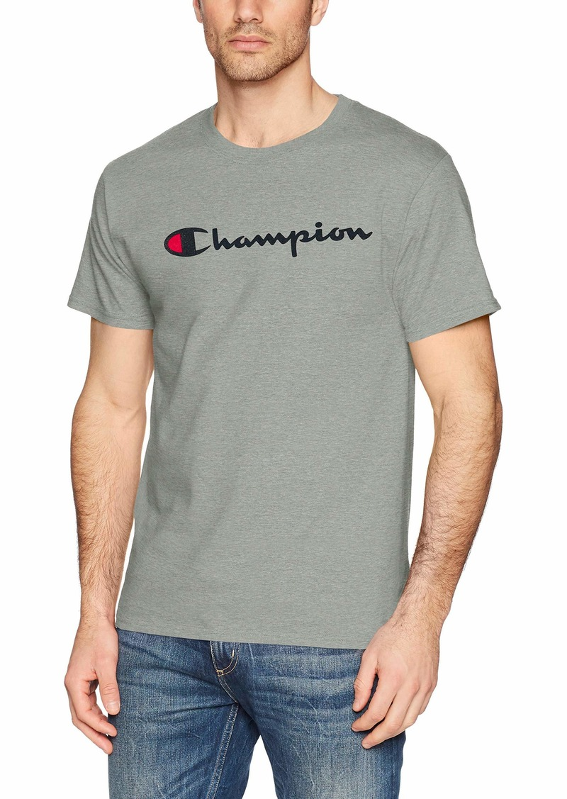 Champion Men's Classic Jersey Script T-Shirt Oxford Grey