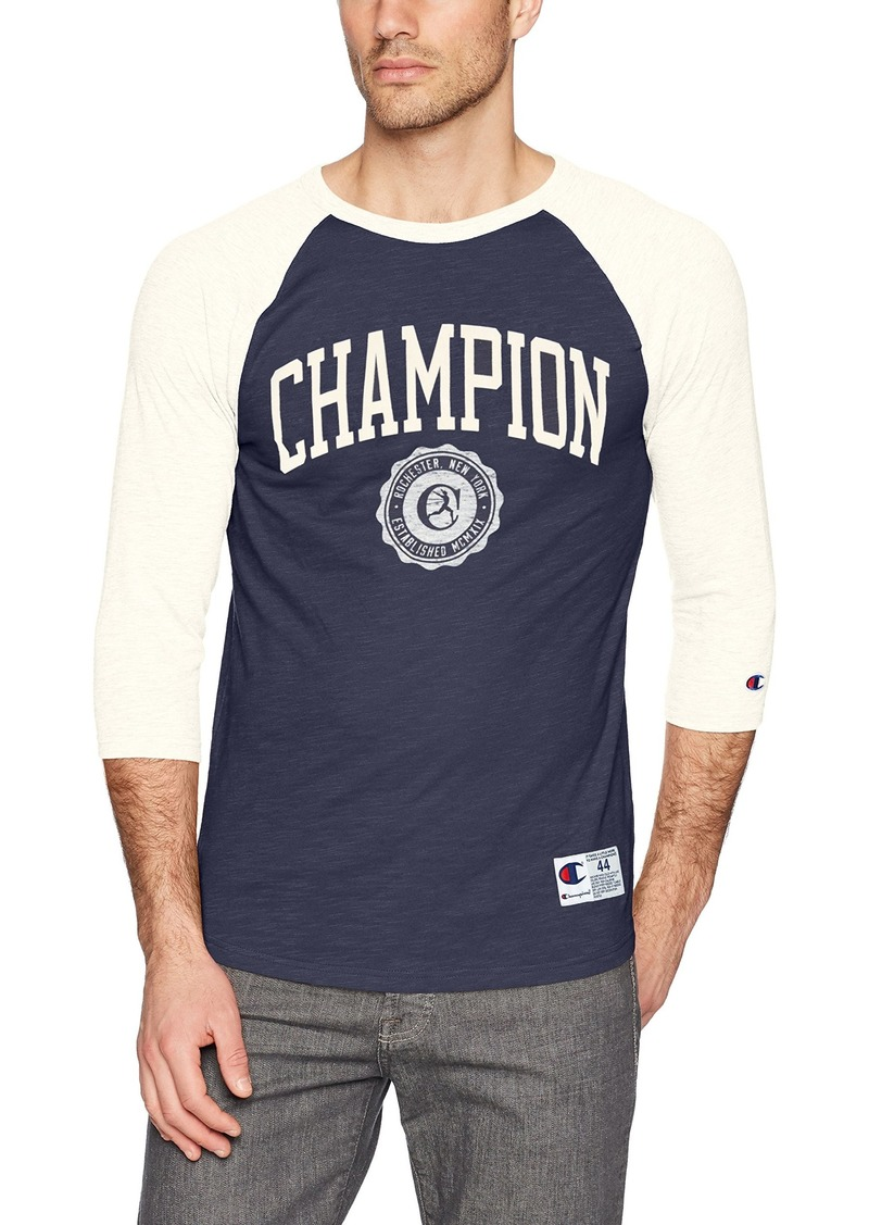 de9844da9 Champion Men s Heritage Baseball Slub Tee Anchor Slate White  Alabaster Collegiate Crest XL