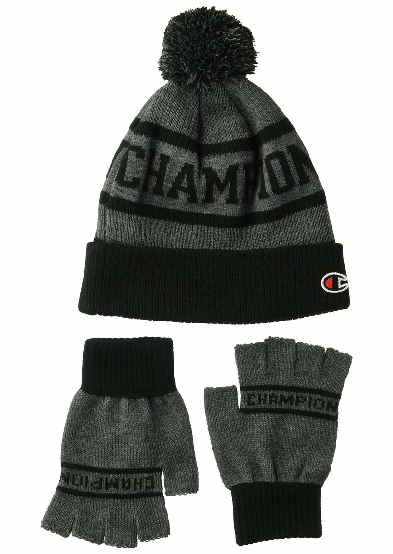 Champion Men's Maverick Pom Beanie & Glove Set  OS