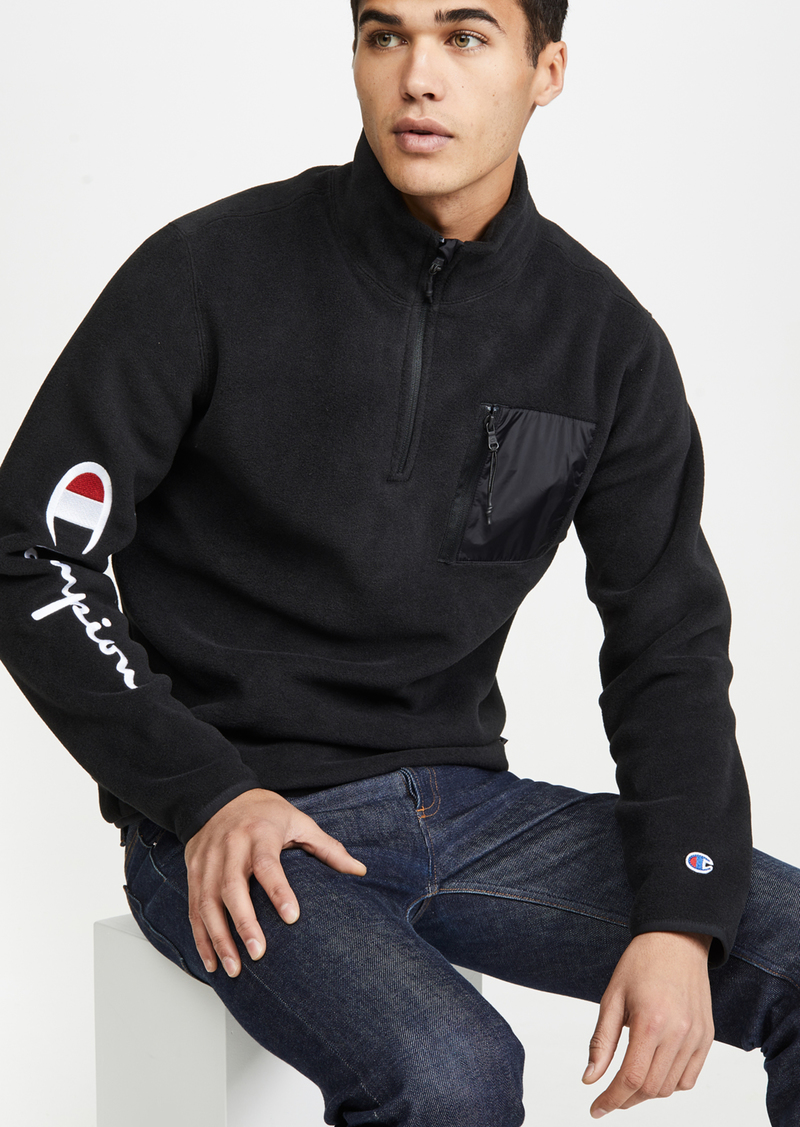Champion Premium Reverse Weave Half Zip Sweatshirt With Sleeve Script