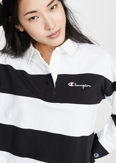 Champion Premium Reverse Weave Small Script Striped Polo