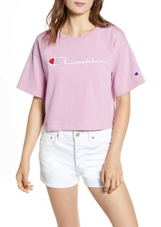 Champion Satin Stitch Embroidered Logo Crop Top