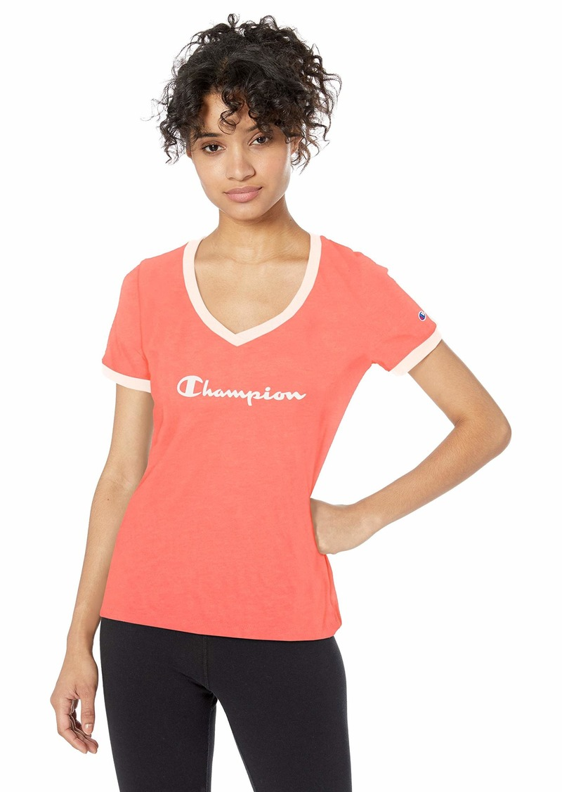 Champion Women's Heritage V-Neck Ringer Tee